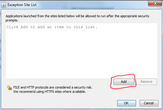 Java security settings